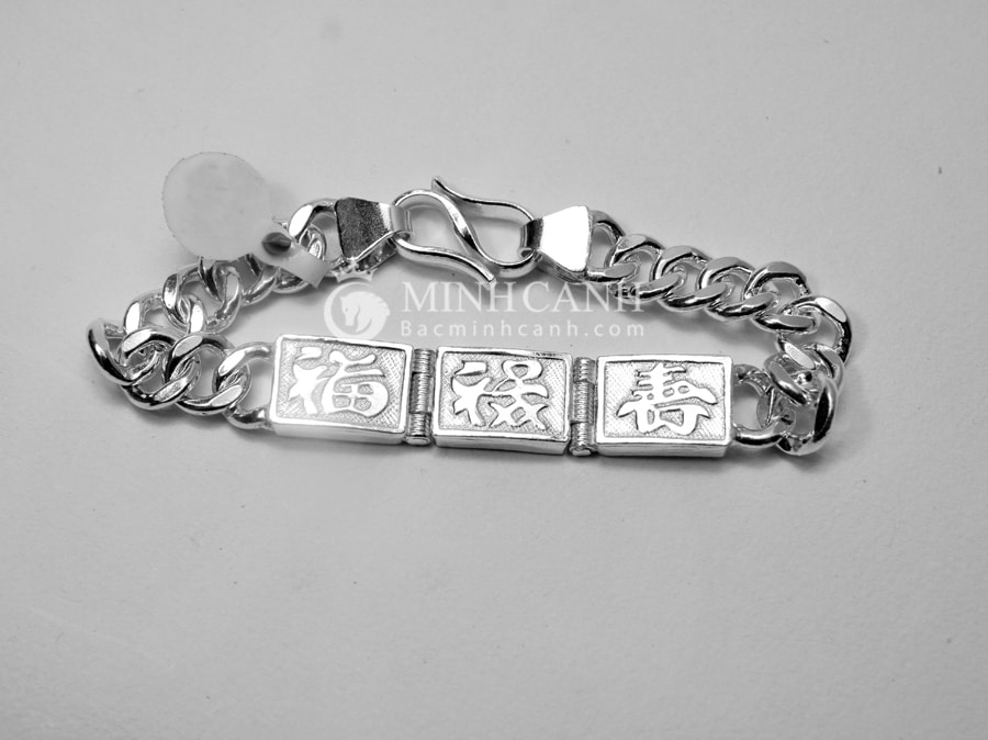 Lắc tay nam bạc chữ Phúc – Lộc – Thọ LTN004