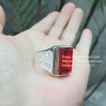 Nhẫn bạc nam mặt đá đỏ vuông NN003