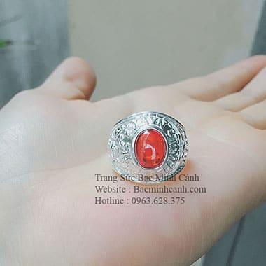 Nhẫn bạc nam mặt đá tròn đỏ NN008
