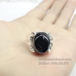 Nhẫn bạc nam mặt đá tròn NN010
