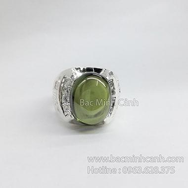 Nhẫn nam mặt đá tròn rêu NN019