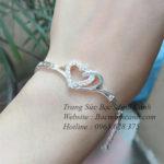 Vòng tay bạc nữ trái tim lồng nhau LTNU073