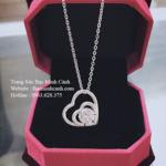 Dây chuyền trái tim đôi bằng bạc DCNU102
