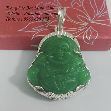 Mặt dây chuyền Phật Di Lạc bằng đá bọc bạc MN025