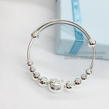 Lắc tay mèo Hello Kitty bằng bạc cho bé TE035