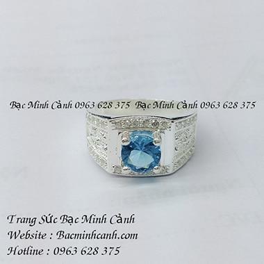 Nhẫn bạc nam mặt đá xanh dương NN034