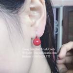 Bông tai ngọc trai đỏ dạng treo BT083