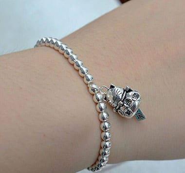 Lắc tay bạc Mèo Thần Tài may mắn LTNU98