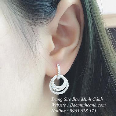 Bông tai bạc nữ cao cấp dạng vòng tròn BT094