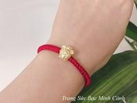 Lắc tay chỉ đỏ charm Chuột xi vàng LTNU160