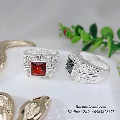Nhẫn bạc nam mặt đá vuông NN004