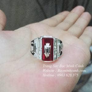 Nhẫn Mỹ đá đỏ bạc ta 925 NN013