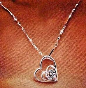 Dây chuyền 2 trái tim bằng bạc DCNU107