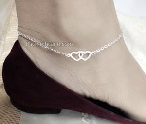 Lắc chân trái tim đôi bằng bạc LCNU006