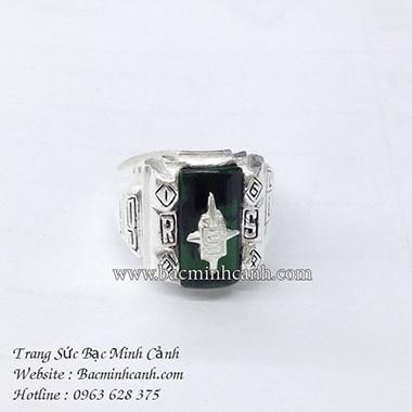 Nhẫn quân đội Mỹ màu xanh lá bằng bạc NN014