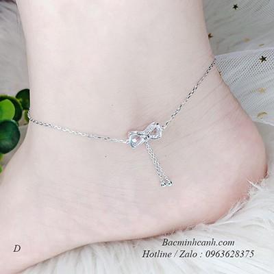 Lắc chân bạc nữ nơ treo đá LCNU049