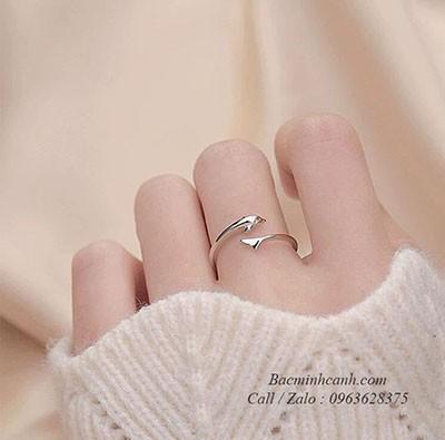 Nhẫn bạc nữ cá heo may mắn NNU047