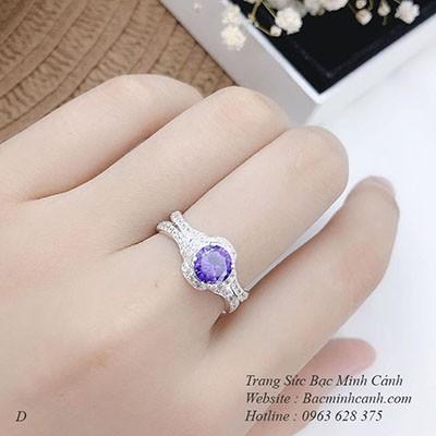 Nhẫn bạc nữ đá tím NNU037