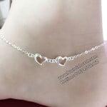 Lắc chân 2 trái tim bằng bạc LCNU019