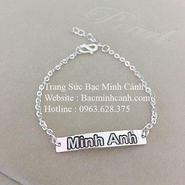 Lắc tay thẻ bạc khắc chữ, khắc tên theo yêu cầu LTNU055
