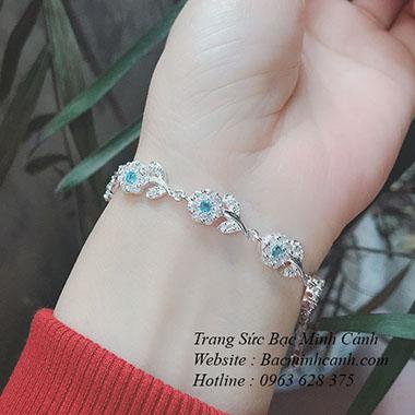 Lắc tay bạc đính đá xanh LTNU087
