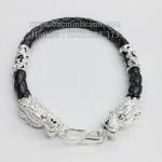 Lắc tay da bọc đầu rồng bằng bạc LTN013