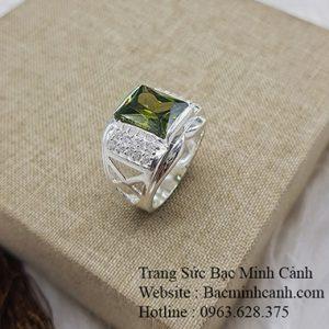 Nhẫn bạc nam mặt đá mầu rêu NN018