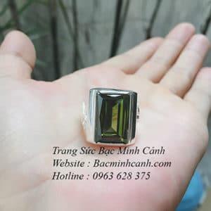 Nhẫn bạc nam xanh rêu NN039