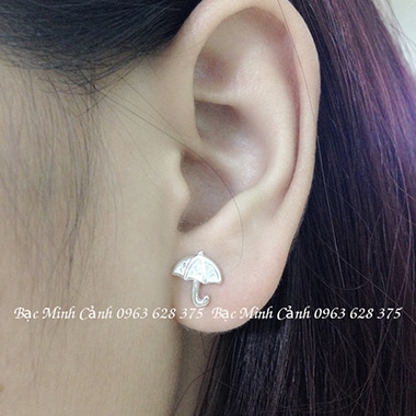 Bông tai bạc nữ hình ô xinh xắn BT057