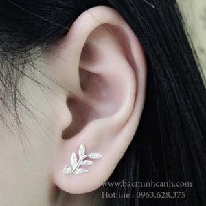 Khuyên tai bạc nữ hình lá duyên dáng BT045