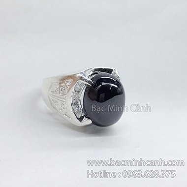Nhẫn bạc nam mặt đá tròn đen NN032