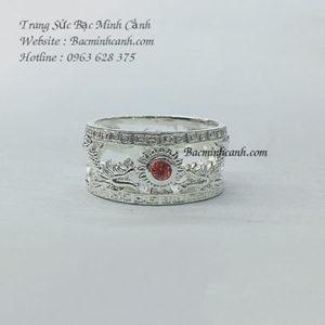 Nhẫn bạc nam rồng cuộn ngọc đá đỏ NN033