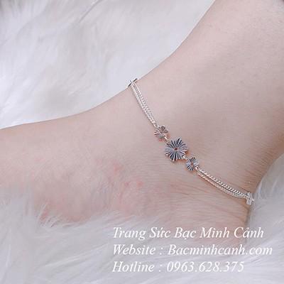 Lắc chân bạc nữ hoa phay bằng bạc LCNU001