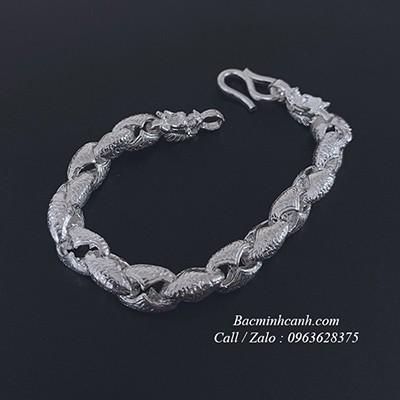 Lắc tay bạc đầu rồng mạnh mẽ LTN014