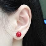 Bông tai ngọc trai đỏ may mắn BT055