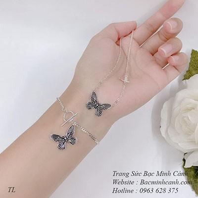 Bộ trang sức hình cánh bướm sơn đen BTS020