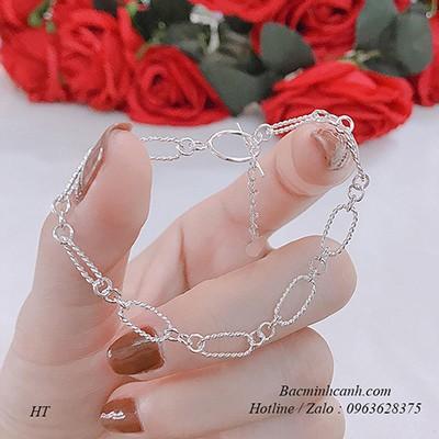 Lắc tay bạc nữ họa tiết đơn giản LTNU029