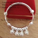 Lắc bạc trẻ em họa tiết 4 bông hoa TE078