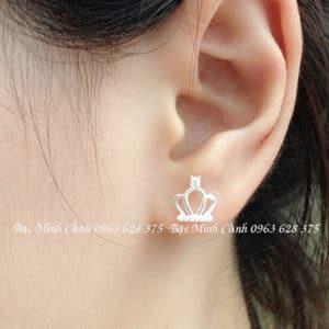 Bông tai bạc nữ hình vương miện BT068