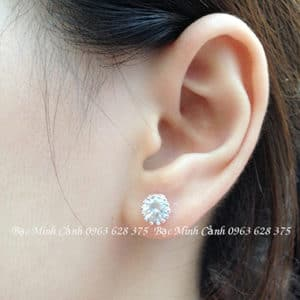 Bông tai nữ dạng tròn đính đá BT069