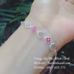 Lắc tay bạc nữ đính đá hồng LTNU083
