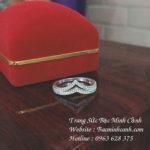 Nhẫn bạc nữ chữ V đính đá NNU081
