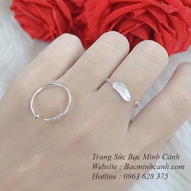 Nhẫn bạc nữ hình lông vũ NNU082