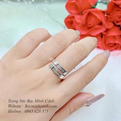 Nhẫn bạc nữ khắc tên theo yêu cầu NNU024