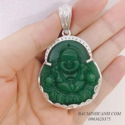 Mặt dây chuyền Phật Di Lạc bọc bạc đá xanh MN025
