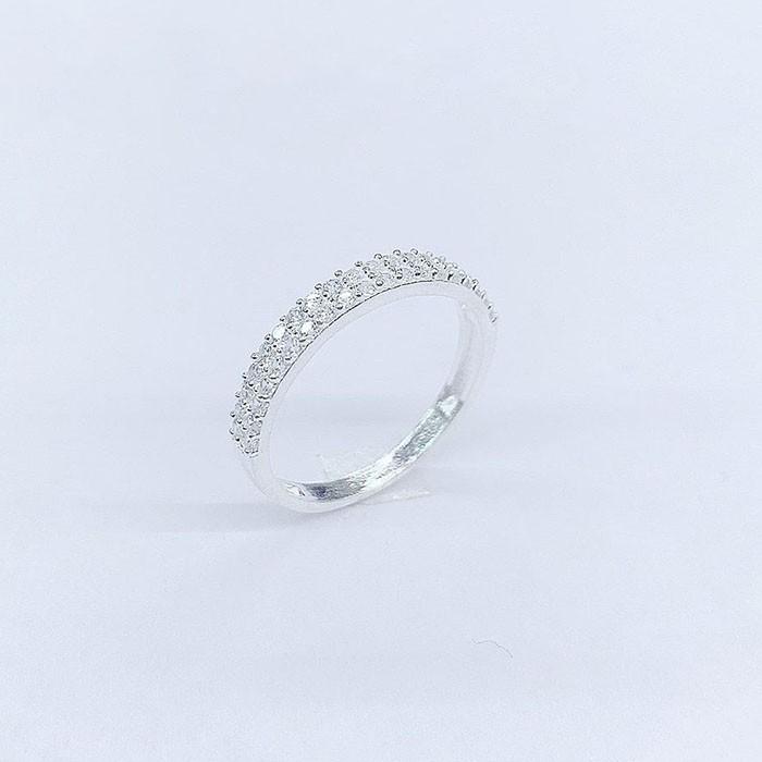 Nhẫn bạc nữ 2 hàng đá NNU058