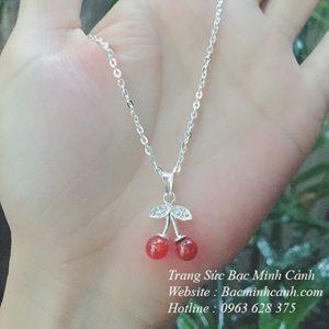 Dây chuyền bạc Cherry đỏ DCNU166