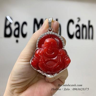 Mặt dây chuyền Phật Di Lạc bọc bạc đá đỏ MN044