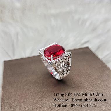 Nhẫn bạc mặt đá Oval đỏ NN048