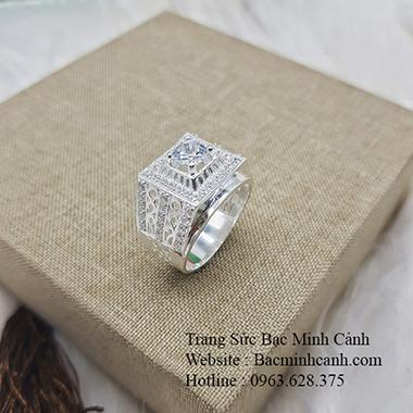 Nhẫn bạc nam đính đá trắng sang trọng NN046